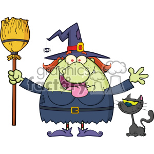 Happy Witch Cartoon Mascot Character Holding A Broom With Black Cat Vector clipart. Commercial use image # 402770