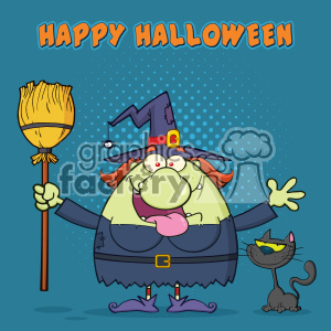 Happy Witch Cartoon Mascot Character Holding A Broom With Black Cat Vector With Halftone Background And Text Happy Halloween clipart. Commercial use image # 402775