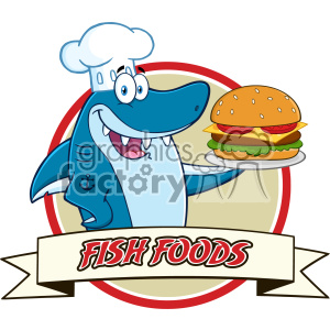 Chef Blue Shark Cartoon Holding A Big Burger Over A Ribbon Banner Vector With Text Fish Foods