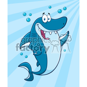 Clipart Happy Blue Shark Cartoon Waving For Greeting Under Water Vector With Blue Sunburst Background