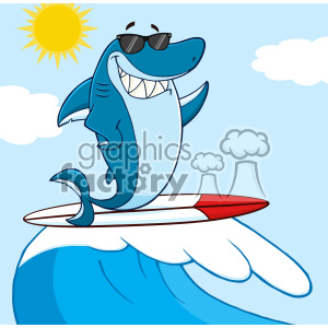 Clipart Smiling Blue Shark Cartoon With Sunglasses Surfing And Waving Over Wave Vector With Background clipart. Royalty-free image # 402800