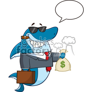 Smiling Business Shark Cartoon In Suit Carrying A Briefcase And Holding A Money Bag Vector Illustration With Speech Bubble clipart. Commercial use image # 402805