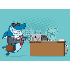 Royalty Free RF Clipart Smiling Business Shark Cartoon Holding A Thumb Up By An Office Desk Vector  With Blue Halftone Background clipart. Royalty-free image # 402810