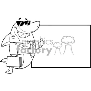 Black And White Smiling Business Shark Cartoon In Suit Carrying A Briefcase And Holding A Thumb Up To Blank Board Vector Illustration clipart. Commercial use image # 402822