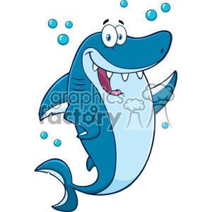 Clipart Happy Blue Shark Cartoon Waving For Greeting Vector