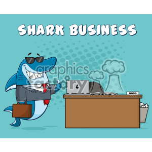 Smiling Business Shark Cartoon Holding A Thumb Up By An Office Desk Vector With Blue Halftone Background And Text Shark Business clipart. Commercial use image # 402837