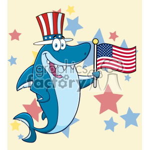 Clipart Happy Blue Shark Cartoon With Patriotic Hat Holding An American Flag Vector With Stars Background
