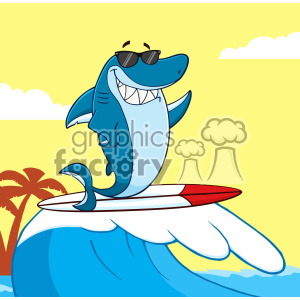 10382 Clipart Smiling Blue Shark Cartoon With Sunglasses Surfing And Waving Vector With Background