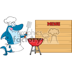 Chef Blue Shark Cartoon Licking His Lips And Holding A Spatula By A Barbeque With Roasted Burgers To Wooden Blank Board With Text Menu Vector Illustration