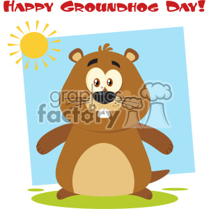 Cute Marmot Cartoon Character Vector Flat Design With Background And Text Happy Groundhog Day clipart. Royalty-free image # 402857