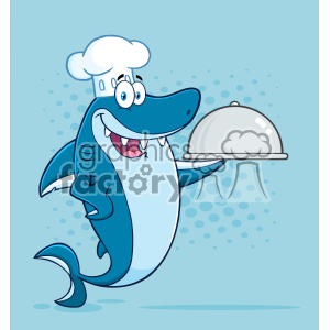 Clipart Chef Blue Shark Cartoon Holding A Platter Vector With Blue Halftone Background clipart. Royalty-free image # 402862