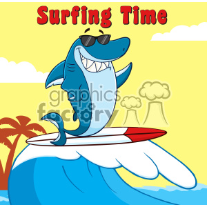 Smiling Blue Shark Cartoon With Sunglasses Surfing And Waving Vector With Background And Text Surfing Time clipart. Royalty-free image # 402867