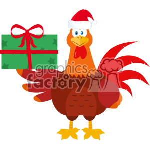 Santa Rooster Bird Cartoon Holding Gifts Vector Flat Design clipart. Royalty-free image # 402872
