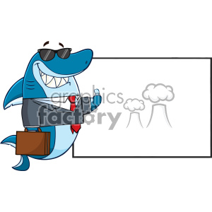 Smiling Business Shark Cartoon In Suit Carrying A Briefcase And Holding A Thumb Up To Blank Board Vector
