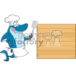 Chef Blue Shark Cartoon Licking His Lips And Holding A Spatula To Wooden Blank Board Vector