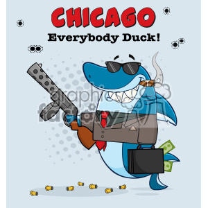 10415 Smiling Shark Gangster Cartoon Carrying A Briefcase Holding A Big Gun And Smoking A Cigar Vector With Gray Halftone Background And Text Chicago clipart. Royalty-free image # 402889
