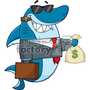 Smiling Business Shark Cartoon In Suit Carrying A Briefcase And Holding A Money Bag Vector clipart. Royalty-free image # 402891