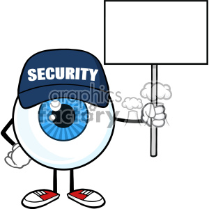 Blue Eyeball Cartoon Mascot Character Security Guard Holding Up A Blank Sign Vector clipart. Royalty-free image # 402896