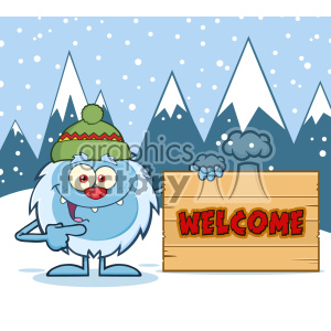 Cute Little Yeti Cartoon Mascot Character With Hat Pointing To A Welcome Wooden Sign Vector With Winter Background clipart. Royalty-free image # 402906