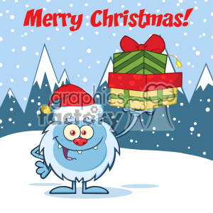 Smiling Little Yeti Cartoon Mascot Character With Santa Hat Holding Up A Gifts Vector Over Snow Montains Background With Text Merry Christmas