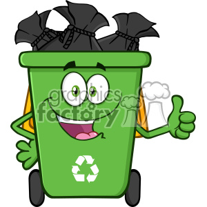 Happy Green Recycle Bin Cartoon Mascot Character Full With Garbage Bags Giving A Thumb Up Vector clipart. Royalty-free image # 402926