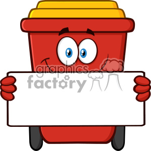 Smiling Red Recycle Bin Cartoon Mascot Character Holding A Blank Sign Vector