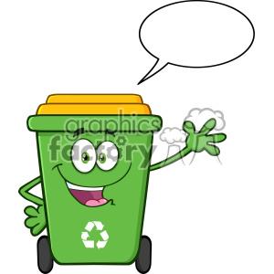 Happy Green Recycle Bin Cartoon Mascot Character Waving For Greeting With Speech Blank Bubble Vector clipart. Royalty-free image # 402936