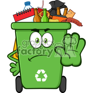 Angry Green Recycle Bin Cartoon Mascot Character Full With Garbage Gesturing Stop Vector clipart. Royalty-free image # 402941