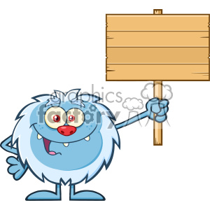 Smiling Little Yeti Cartoon Mascot Character Holding Up A Wooden Blank Sign Vector