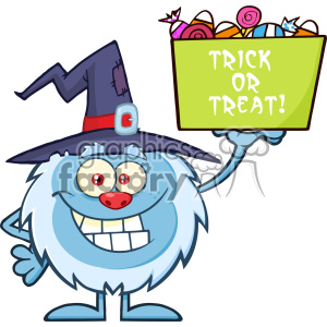 Cute Little Yeti Cartoon Mascot Character With Witch Hat Holding Up A Trick Or Treat Halloween Candy Basket Vector