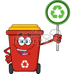 Cute Red Recycle Bin Cartoon Mascot Character Holding A Recycle Sign Vector