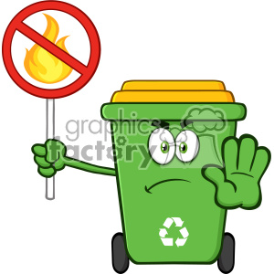 Angry Green Recycle Bin Cartoon Mascot Character Gesturing Stop And Holding A Fire Restricted Sign Vector clipart. Commercial use image # 402961