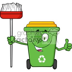 Winking Green Recycle Bin Cartoon Mascot Character Holding A Broom And Giving A Thumb Up Vector