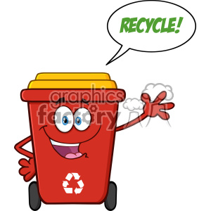 Happy Red Recycle Bin Cartoon Mascot Character Waving For Greeting With Speech Bubble And Text Recycle Vector