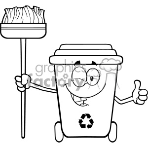 Black And White Winking Recycle Bin Cartoon Mascot Character Holding A Broom And Giving A Thumb Up Vector