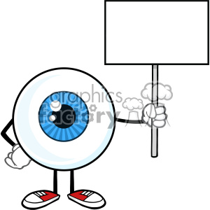 Blue Eyeball Guy Cartoon Mascot Character Holding Up A Blank Sign Vector clipart. Royalty-free image # 402986
