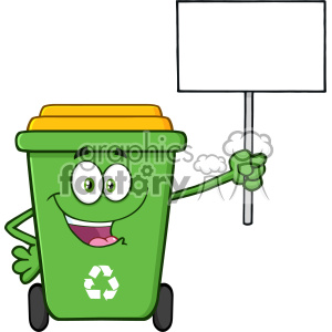 Happy Green Recycle Bin Cartoon Mascot Character Holding Up A Blank Sign Vector clipart. Royalty-free image # 402991