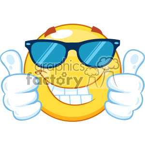 10460 Smiling Yellow Emoticon Cartoon Mascot Character With Sunglasses Giving Two Thumbs Up Vector