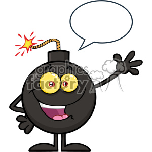 10779 Royalty Free RF Clipart Funny Bomb Cartoon Mascot Character Waving For Greeting With Speech Bubble Sign Vector Illustration
