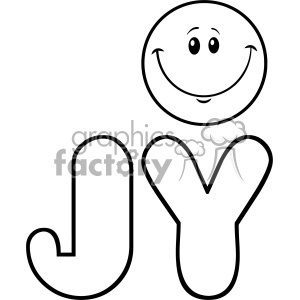 10847 Royalty Free RF Clipart Black And White Joy Yellow Logo With Smiley Face Cartoon Character Vector Illustration