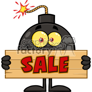 10788 Royalty Free RF Clipart Smiling Bomb Cartoon Mascot Character Holding Sale Wooden Sign Vector Illustration
