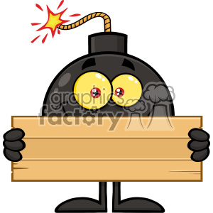 10787 Royalty Free RF Clipart Smiling Bomb Cartoon Mascot Character Holding Wooden Blank Sign Vector Illustration