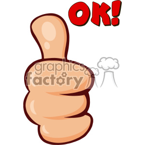 10690 Royalty Free RF Clipart Cartoon Hand Giving Thumbs Up Gesture Vector With Text OK