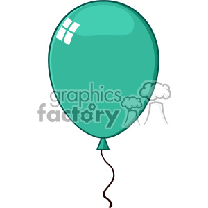 10756 Royalty Free RF Clipart Cartoon Turquoise Balloon Vector Illustration