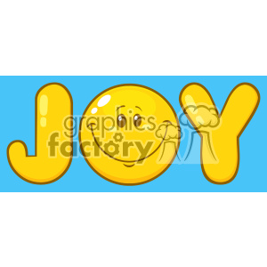 10846 Royalty Free RF Clipart Joy Yellow Logo With Smiley Face Cartoon Character Vector With Blue Background