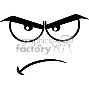10909 Royalty Free RF Clipart Black And White Angry Cartoon Funny Face With Grumpy Expression Vector Illustration