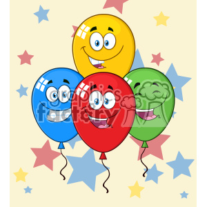 10775 Royalty Free RF Clipart Happy Four Colorful Balloons Cartoon Mascot Character With Expressions Vector With Stars Background clipart. Commercial use image # 403683