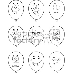 10765 Royalty Free RF Clipart Black And White Balloons Cartoon Mascot Character With Expressions Set Vector Illustration