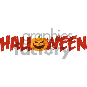 Halloween Greeting Banner Of A Evil Pumpkin As The O Vector Illustration Flat Design Style Isolated On White Background clipart. Commercial use image # 403943