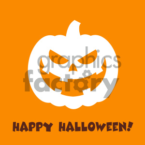 Evil Halloween Pumpkin Cartoon Emoji Face Character Vector Illustration Flat Design Style With Background And Text Happy Halloween_1 clipart. Royalty-free image # 403953